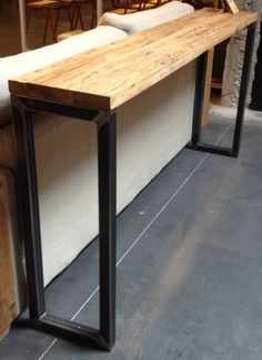 Discover thousands of images about console DIY -- MANTEL? Diy Table, Wood Table, Steel Table, Crate Furniture, Furniture Design, Furniture Outlet, Discount Furniture, Diy Mantel, Trendy Home