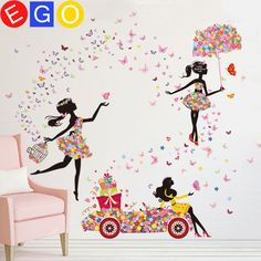Wow!!!!12 kinds DIY Wall Sticker Butterfly Wall Decals Bicycle and lovely Ballet Girls Poster Stickers for Home Decor Decoration Free shipping