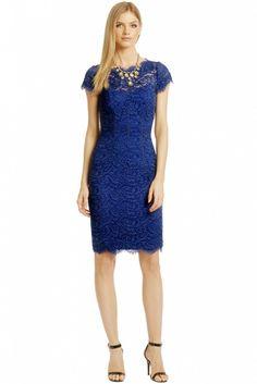 ML Monique Lhuillier Never Let You Go Sheath Dress // Blue lace dress
