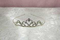 Bridal Crystal Veil Tiara with Heart Center
