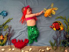 Little Mermaid, scened photo of grandaughter at age 4 months.