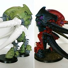 Here's another before/after shot showing my #greenstuff and #apoxiesculpt work on the reimagined #tyranid #screamerkiller #carnifex.  It was painted by Eric Lambert.  #tyranids #bugs #nids #warhammer40k #conversion #scratchbuild #kitbash #painting #gamesworkshop #forgeworld #40k #wh40k #warpshadow #modernsynthesist #twitter