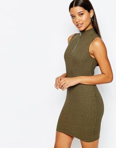 Lipsy+Ribbed+Bodycon+Dress+With+Zip