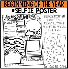 Selfie Poster: This poster will be a total hit in your classroom! Students can work on the poster during the first week of school and you can create a bulletin board so that all of your students can get to know each other.   Included in the File: Printing Directions Selfie Poster Bulletin Board Letters for #SELFIE  Also included in this file is an AUSTRALIAN spelling version!!