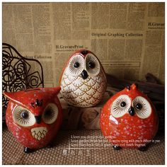 3 Little Owis Handmade Ornaments, Handmade Crafts, Wood Carving For Beginners, Owl Dream Catcher, Clay Owl, Coil Pots, Owl Ornament, Polymer Clay Animals, Ceramic Owl