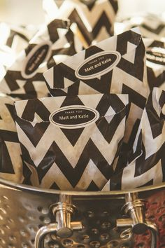Black & White chevron favor bags with custom sticker label