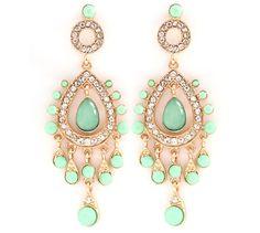 Leontine Chandelier Earrings in Warm Mint