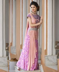Pink Color Georgette Unstitched Designer Gown For Wedding : Pritisha Collection YF-32150