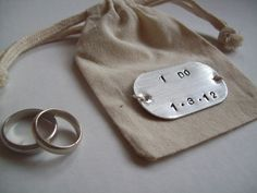 I DO... Cotton and Metal  Wedding ring bag. $22.00, via Etsy.