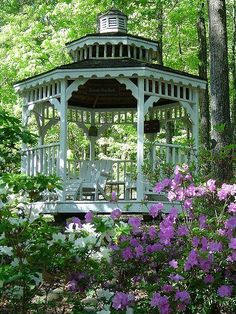 Love, love,  love this beautiful gazebo and surrounding wooded shade garden......