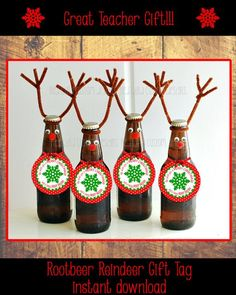 Christmas Reindeer Rootbeer Gift Tags by RedBirdCustomDesigns