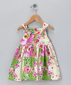 Take a look at this Green & Fuchsia Floral Knot Dress - Infant, Toddler & Girls by Lil'Daisies on #zulily today!