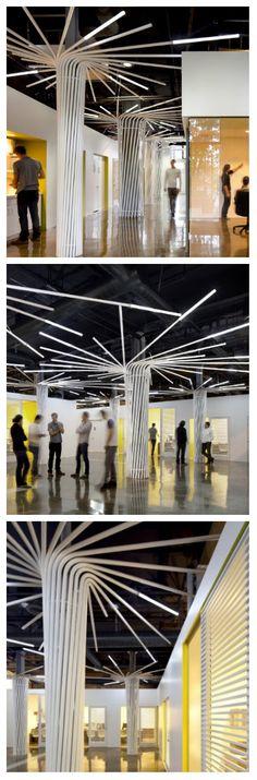 Конструкции из изогнутых труб со светодиодными светильниками сверху, весьма успешно служат декором, осветительными приборами и даже частично выполняют функцию потолка. Оригинальное освещение офиса придало особый вид пространствам, благодаря чему, даже коридоры иногда используют как зал для проведения совещаний. #офис #освещение #подсветка #освещениеофиса #оригинальноеосвещение #светодиодноеосвещение #светодиоднаяподсветка #светильники #светодиодныесветильники #дизайнофиса #дизайнпомещений