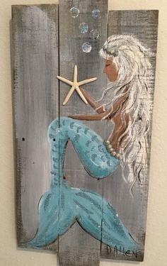 Mermaid Wall Art, Mermaid Beach, Mermaid Sign, Teal Paint, White Chalk Paint, Driftwood Crafts, Seashell Crafts, Beach Crafts, Mermaid Outline