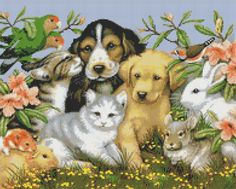 Little Pets Counted Cross Stitch Pattern, Instant Digital Download Cross Stitch Chart, Puppy, Kitten, Bunny, Guinea Pig, Chinchilla, Hamster