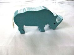 Blue Rhinoceros Wooden Toy by HBhandmades on Etsy, $12.00