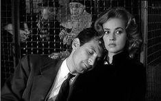 Jeanne Moreau and Felix Marten in Louis Malle's ELEVATOR TO THE GALLOWS.