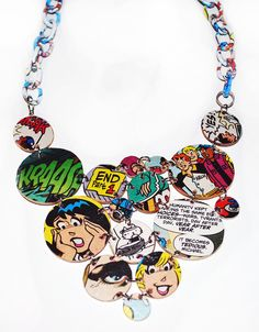 Comic Book Circle Statement Necklace. $25.00, via Etsy.