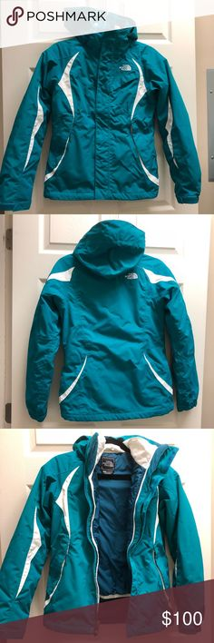 North Face 2-Piece Winter Coat North Face 2-Piece Winter Coat Size XS Teal and white exterior shell with white puffy interior shell Only flaw is that the interior sleeve no longer clips to the exterior sleeve (see last picture) The North Face Jackets & Coats Puffers