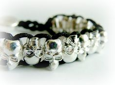 Silver Skull Bracelet by FoxInTheBox on Etsy, $25.00
