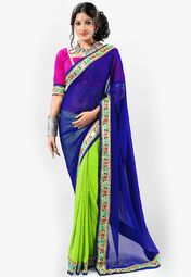 Admyrin Blue Printed Saree Online Shopping Store