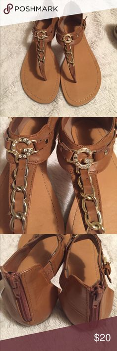 Guess Thong Sandals Really SUPER condition! Super comfy with a zipper in the back for easy on/off. Gold hardware looks good. No missing jewels. Shoes Sandals