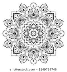 Imagens, fotos stock e vetores similares de Circular pattern in form of mandala for Henna, Mehndi, tattoo, decoration. Decorative ornament in ethnic oriental style. Coloring book page. Mandala Doodle, Mandala Drawing, Henna Mandala, Henna Drawings, Cool Drawings, Circular Pattern, Mandala Pattern, Zentangle, Mandala Artwork