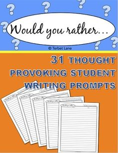 Fun, creative, thought provoking writing prompts will inspire even the most reluctant writer. One page essays for younger writers or use additional pages for older writers. 31 different writing prompts. * * * * * * * * * * * * * * * Terms of UseCopyright  Terbet Lane.