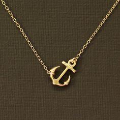Sideways Gold Anchor Necklace