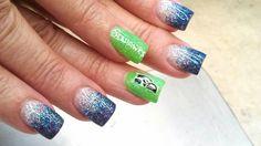 Go Seahawks    hand painted nail art