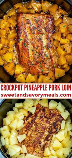 Slow Cooker Pineapple Pork is delicious and tender all you need is just 5 ingredients A great family dinner with a tasty tropical twist pork slowcooker crockpot porkrecipes sweetandsavorymeals pineapplepork chickenrecipe dinner fish Crock Pot Recipes, Crockpot Dishes, Pork Dishes, Crock Pot Cooking, Meat Recipes, Recipes Dinner, Healthy Recipes, Pork Dinner Ideas, Dessert Recipes