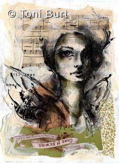 loose charcoal sketch in mixed media art journal - art journal girl - angel wings