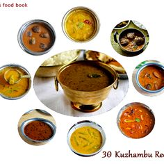 75 South Indian Kuzhambu recipes for rice / Kuzhambu varieties (kulambu) of Tamil people ! Lunch Recipes Indian, South Indian Vegetarian Recipes, South Indian Breakfast Recipes, Gujarati Recipes, South Indian Food, Gujarati Food, Vegetarian Meals, Fresh Tomato Recipes, Veg Recipes