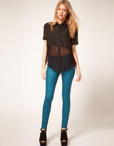 ASOS Enamel Blue Coated Coloured Skinny Jeans £40.00
