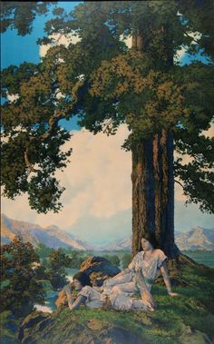 View From the Hill, by Maxfield Parrish, 1926 Abstract Landscape, Landscape Paintings, Landscapes, New Hampshire, Carl Spitzweg, Maxfield Parrish, Ciel, American Artists, Les Oeuvres