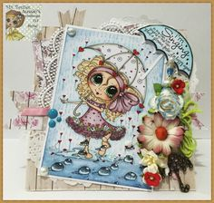 Beautifully handmade card with different effects, die cuts,lace, ribbon and flowers  hand colored with Copic markers and image by Sherri Baldy .