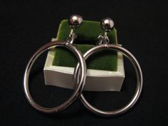 BIG Vintage Silver Tone Puffy Tube Hoop Dangle Clip by ditbge, $7.50