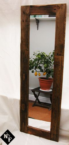 Reclaimed wood mirror. Tall. Hall Mirror. by NorthcoteFurniture