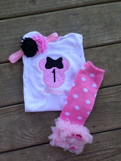 Pink and black minnie mouse 1st birthday outfit!