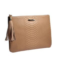Gigi's The All in One Bag, Sand Embossed Python. Perfect for dropping in an oversized bag.
