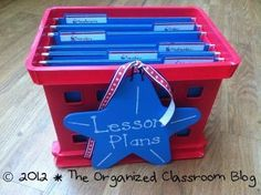 TEACHING IDEA: Use a file crate to organize your weekly lesson plans and copies. Drop in hanging files with days of the week labels, and then as you make your weekly copies - or are prepping the materials - drop them in to the applicable day. Easy for you AND for a last minute substitute if necessary....Charity at Organized Classroom and Mandi Rolfe