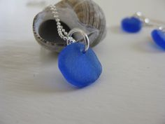 blue seaglass, sea glass sterling necklace & earrings, blue beach glass, tiny necklace, small earrings, simple beach jewelry by SeaglassWithATwist on Etsy