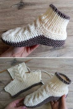 Knit Slippers Free Pattern, Knitted Slippers, Crochet Slippers, Knit Crochet, Beanie Pattern, Knitting Patterns Free, Free Knitting, Baby Knitting, Crochet Patterns