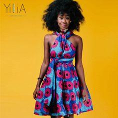 Yilia Many Ways Women Dress Summer 2018 Fashion African Print Clothing Casual Sexy A Line Beach Dresses Sundress Cross Back Robe African Dresses For Women, Summer Dresses For Women, Dress Summer, African Print Clothing, Smart Dress, We Are The World, Sexy Party Dress, Beach Dresses, Stylish Dresses