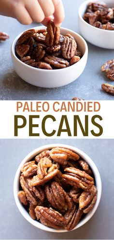 Paleo candied pecans are gluten free and dairy free.  Healthy pecan recipes are easy to make and sweetened with maple syrup and free of coconut sugar. I like to eat them plain as a paleo snack, or throw them on top of a salad for paleo lunches. They're even sweet enough to be a paleo dessert recipe.  Paleo eating is easy with healthy snack recipes like candied nuts. These are so tasty! It's the best paleo snack recipe! Pin this to your pecan recipes board! #simplyjillicious #paleo #dairyfree #gf