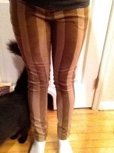 DIY steampunk-pants. Using your favorite pants as a guide, make big pants fit, then spray paint stripes using masking tape as a stencil. Vertical stripes are my favorite, bet there would look good with knee high brown boots, a cream colored shirt, a burgundy vest, and a cute hat/hair accessory.