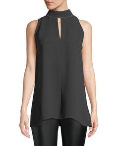 Lafayette 148 New York Tiffany Double-Georgette Silk Blouse