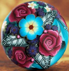 Polymer Clay Dimensional Circle Focal Bead by ikandiclay on Etsy