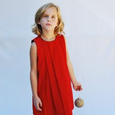 girls red dress with pleats  red dress girls 4 by SchoolHouseFrock