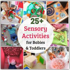 Tickle your baby's senses and encourage movement learning with these easy sensory activities for babies and toddlers! Easy, low cost lots of fun! Baby Sensory Board, Toddler Activity Board, Baby Sensory Play, Sensory Toys, Baby Play, Baby Toys, Baby Learning Activities, Nursery Activities, Learning Games For Kids